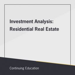 Investment Analysis: Residential Real Estate class