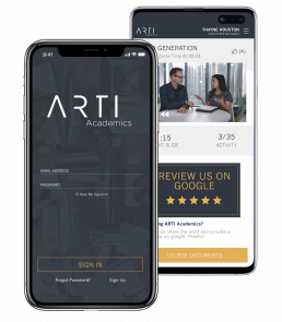 Iphone and Android displaying the ARTI Academic app